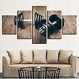 HD Drucke Wandkunst Bilder Wohnkultur Poster Auf Leinwand 5 Stücke Fitness Gym Sport Hanteln Gemälde Wohnzimmer Poster Kinder Gerahmt