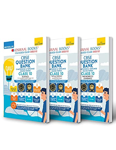 Oswaal CBSE Question Bank Class 10 (Set of 3 Books) Science, Social Science & Mathematics Standard (For 2022 Exam)