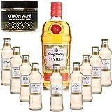 Paquete Gintonic - Gin Tranqueray Flor de Sevilla + 9 * Esencia de Londres 'ginger ale' Pot + 20 rodajas de limón deshidratado amarillo - (70cl 20cl * + 9)