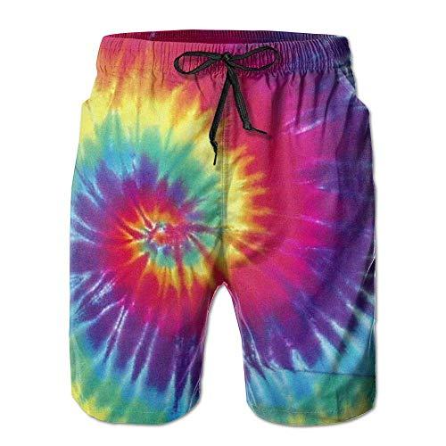 Yuanmeiju Herren Boardshorts Pastellfarbene Regenbogen-Krawatten-Badehose Summer Beach Shorts