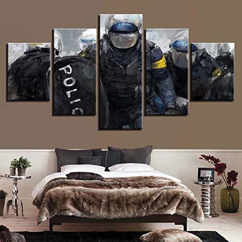 zayduo Leinwandbilder Bilder auf HD Drucke Dekoration 5 Stücke Wandkunst Polizei Modulare Bilder Leinwand Malerei Nacht Hintergrund Kunstwerk Poster