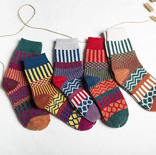 DQS Moda Femenina de Moda Colorida de Moda de algodón de algodón de algodón Calcetines cálidos...