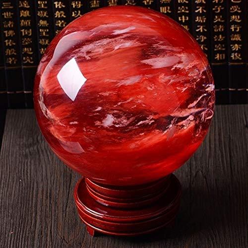ACEACE 80mm Seltene rote Citrin-Calcit-Quarz-Kristallkugel-Kugel-Edelstein-Edelstein + Stand