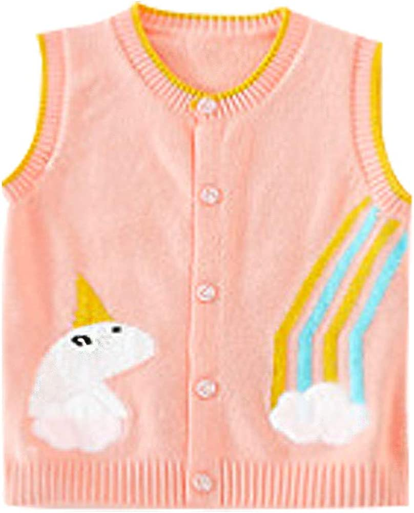 LittleSpring Toddler Boys Girl Knit Vest Button Down Unicorn and Rainbow