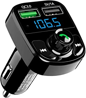 Bluetooth FM Transmitter for Car Radio, SONRU Wireless Bluetooth FM Radio Adapter Music Player Car Kit with Hands Free Calling and QC3.0 Fast Charge USB Port, Support TF Card, USB Disk