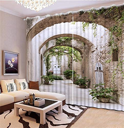 HAOTTP 3D Vorhänge Verdunkelungsbett Auskleidungen Benutzerdefinierte Moderne römische Landschaft für Wohnzimmer Schlafzimmer Waschraum Schöne Vorhänge H200xB200cm