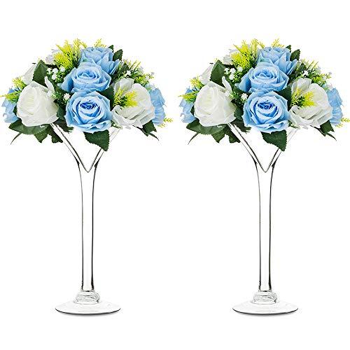 Nuptio 2 Stück Klarglashalter Vase Martini Vasen Hochzeitsarrangement 30.2cm Höhe Herzstück Blumendisplay für Partyveranstaltungen Geburtstag Jubiläum Quinceanera Empfang Babyparty