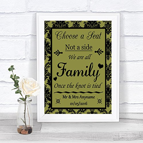 Olijfgroene damast kiezen voor een stoel we zijn allemaal familie gepersonaliseerde bruiloft teken Large A3