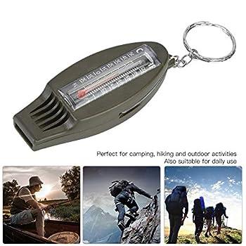 TAKE FANS Sifflet portable multifonction 4 en 1 avec boussole, loupe thermomètre pour la survie en plein air, la randonnée, et accessoire de camping | Clip sur sac, parka ou veste