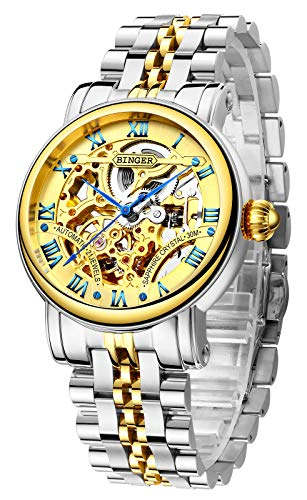 BINGER Men's Watch Automatic Mechanical Stainless Steel Skeleton (Silver Gold)