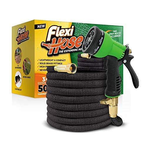 Flexi Hose with 8 Function Nozzle, 50 ft. Lightweight Expandable Garden Hose, No-Kink Flexibility, 3/4 Inch Solid Brass Fittings and Double Latex Core (50 FT, Black)