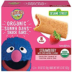 Earth's Best Organic Sesame Street Sunny Day Toddler Snack Bars with Cereal Crust, Strawberries, 8 C