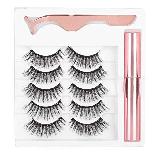 Conjunto de Maquillaje de Pestañas Pestañas Con Aspecto Natural Conjunto de Herramientas de Maquillaje Con Imán Pestañas Postizas Pinzas de Delineador Líquido Magnético Pestañas (# 044)