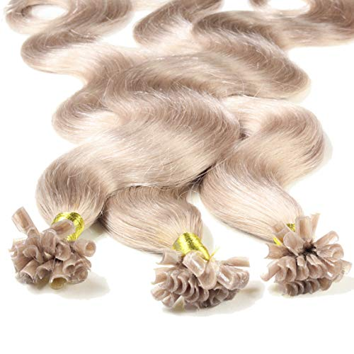 hair2heart 25 x 1g Echthaar Bonding Extensions, gewellt - 40cm - #20 aschblond