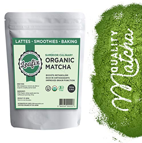 Leafix Matcha Green Tea Powder: Best Japanese Premium Grade Matcha Tea | Usda Organic | Superior Quality | Great For Smoothies, Latte, Cooking and Baking | Kosher (Culinary, 100 Gram)