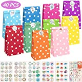 KASZOO Papiertüten, 40 Stück Bunt Geschenktüten Papier mit 84 Aufkleber(Auf Deutsch) Candy Tüten zum Verpacken von Kinder Geschenken, Gast, Mitgebsel, Giveaways, Kindergeburtstag, Hochzeit, Party