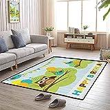 LAURE Großflächenteppich Teppiche Matte Cartoon Eule Vogel AST mit Fahnen auf gestreiftem Hintergrund Feier Bild Patio Matte
