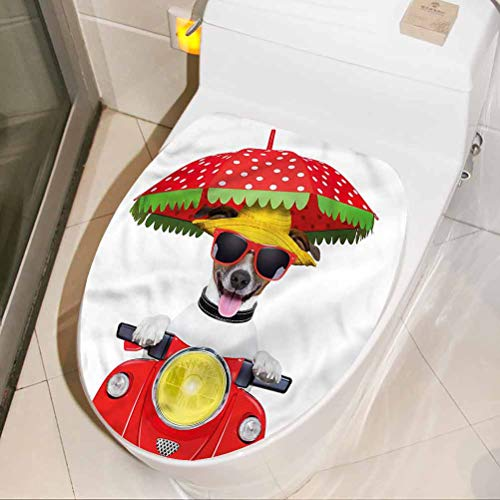 Toilet Lid Cover Stickers Animal, Dog Driving a Motorcycle Modern Bathroom Toilet Wall Art Decal 3D Art Home Decor 17 x 21 Inch