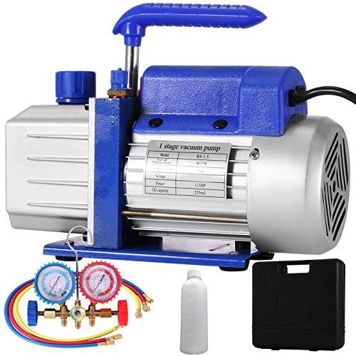 Mophorn Bomba de Vacío 4CFM1/3 HP Bomba de Vacío para Aire Acondicionado Bomba de Vacío Coche con 1 Válvula de A/C para Aire Acondicionado Doméstico, Mantenimiento de Automóviles, Envasado al Vacío