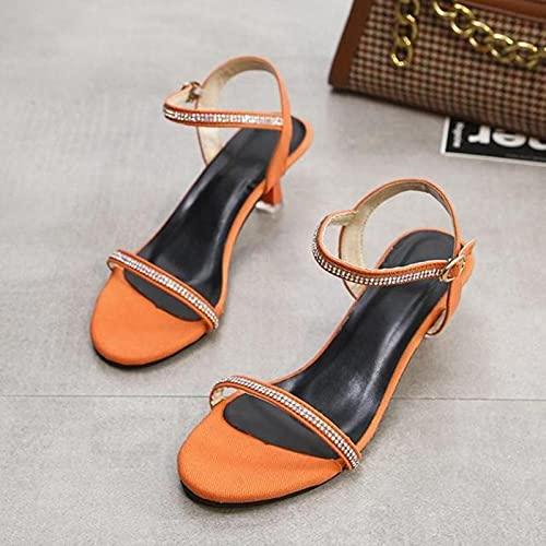 DZQQ Verano Nuevas Sandalias de Mujer Estilo Romano Interior y Exterior diseño de Personalidad Sandalias de tacón Medio con Diamantes de imitación