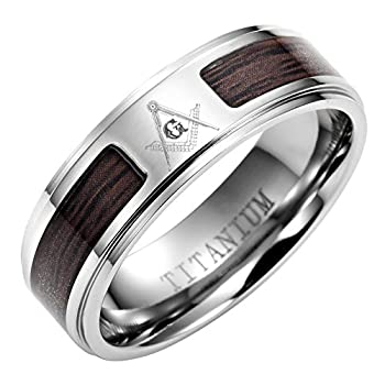 MasonicMan Titanium Masonic Ring with Latin Engraving and Wooden Inlay in Free Black Velvet Ring Box Size 14
