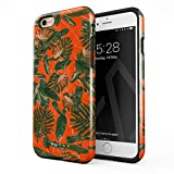 BURGA Cover per iPhone 6 / 6s - Arancio Palme Foglie di Palma Neon Orange Palm Trees Leafs Tropical Exotic Summer Green Palms agli Urti Ed A Doppio Strato + Custodia Protettiva in Silicone Case