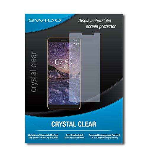 SWIDO Bildschirmschutz für Nokia 7 Plus [4 Stück] Kristall-Klar, Hoher Festigkeitgrad, Schutz vor Öl, Staub & Kratzer/Schutzfolie, Bildschirmschutzfolie, Panzerglas Folie