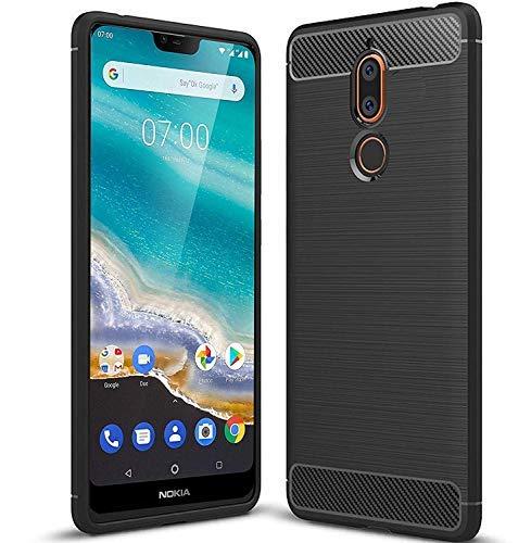 tomaxx Schutzhülle für Nokia 5.1 Plus [2018] Hülle Schutzhülle Silikon Hülle Tasche Carbon Schwarz für Nokia 5.1 Plus 2018