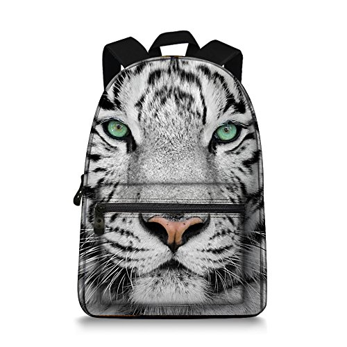 JeremySport 15.5 Inch Canvas 3D Animal Face White Tiger Back Pack for School