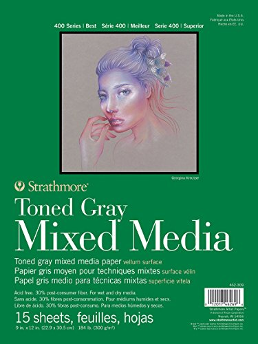 Strathmore 462-309 400 Series Toned Gray Mixed Media Pad, 9'x12' Glue Bound, 15 Sheets per Pad