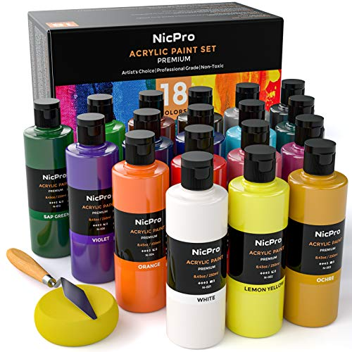 18 Colors Large Acrylic Paint Set,8.45 fl oz./ 250 ml Artist Painting Supplies Bulk Non-Toxic for Multi Surface Canvas, Wood, Fabric, Leather, Cardboard, Paper, Crafts, Hobby