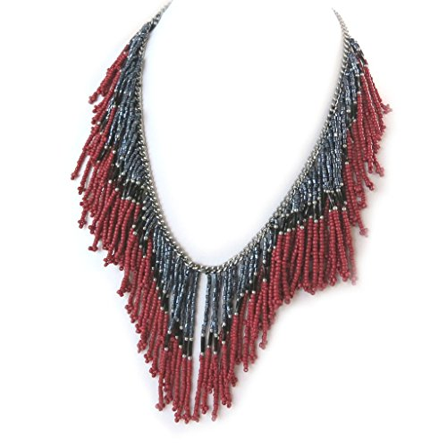 Les Trésors De Lily [N8136] - Schöpfer collier 'Kilimanjaro' rot grau.
