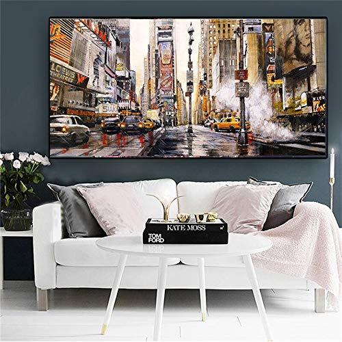 ganlanshu Rahmenlose Malerei Abstrakte Stadtstraße Ölgemälde Landschaftsarchitektur Poster auf LeinwandCGQ7544 30X60cm