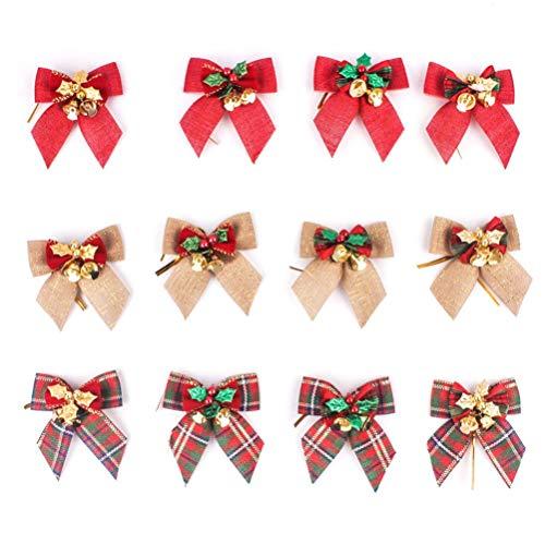 Xunlong - Lote de 12 Lazos de Navidad con Campanas para árbol de Navidad, decoración de Lazo, Adornos para Navidad, Boda y Fiesta