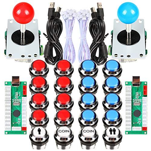 Avisiri 2 Player Arcade Joystick DIY Kit 2 x 8 Way Joystick + 20x Chrome LED Arcade Buttons Game Kit for PC Raspberry Pi Video Games (Red-Blue Kits)