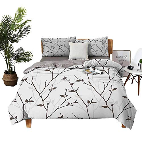 DRAGON VINES Bed Sheets Leaf Bed Sheets Full Set Branches in The Fall Trees Stem Twig with Last Few Leaves Minimalistic Design Art W90 xL90 Pale Grey Brown