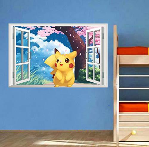 Beliebte Spiel Pikachu Pokemon Go Wandaufkleber Für Kinderzimmer Schlafzimmer Cartoon Fenster Wandtattoos Pvc Diy Poster