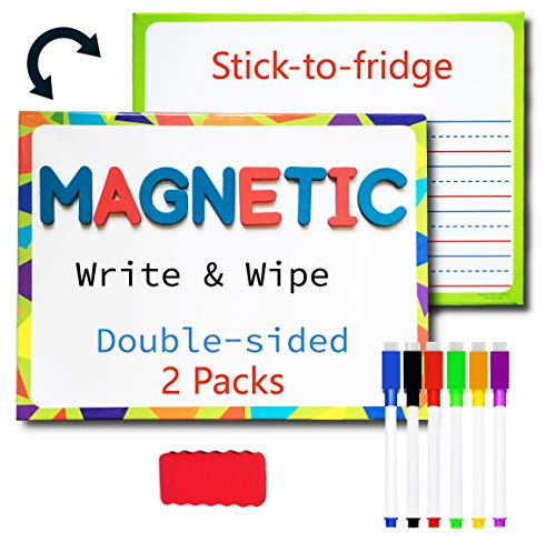 Lined Magnetic Dry Erase Board for Kids with 6 Markers, Premium Double-Sided Dry Erase Lapboard for Learning Writing and Drawing – Stick to Fridge – 9 X 12 Inch Small White Board for Kids (2)
