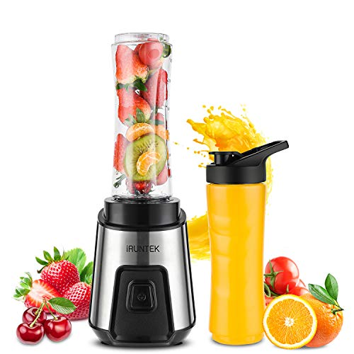 iRUNTEK Personal Blender for Shakes and Smoothies, Small Countertop Blender for Kitchen, Food Processer for juice, jam, milkshake with 250 -Watt Stainless Steel Base and 20-Ounce BPA Free Tritan Cup