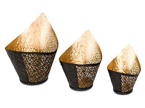 levandeo 3er Set Teelichthalter 3 Größen Windlicht Teelicht Schwarz Gold Metall Kerze Tischdeko Orientalisch