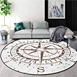 RUGSMAT Compass Washable Creative Modern Round Rug,Retro Tainted and Splashed Paint On A Voyage Windrose Discovery Theme Vintage Art Design Coffee Table Mat Non-Skid Living Room Carpet,Round-39 Inch