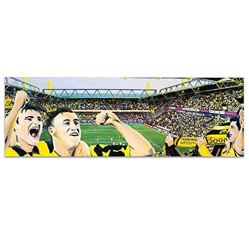 lepouse Fußball Kunstdruck BVB Borussia Dortmund Stadion   Landschaft Westfalenstadion Bild auf Leinwand Poster Souvenir   Panorama Wanddekoration für Schlafzimmer, Wohnzimmer   87x33 cm