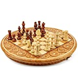Amazinggirl Wooden round Chess Set Board Chess Game for Adults and for Children with Large Pieces, portable...