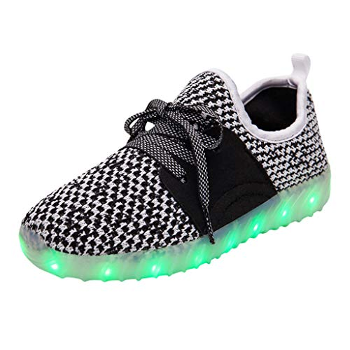 Masoness ⭐⭐ Netto komfortable atmungsaktive Fliegende gewebte leichte Schuhe USB Ladestrahlen Schuhe,Kinder LED Slip on Sneakers leuchten blinkende Sneaker Mädchen Jungen Stricken Wanderschuh