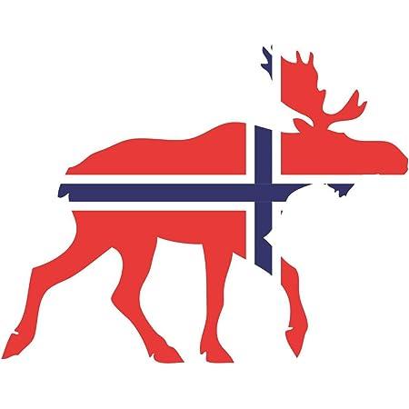 Samunshi Elch Aufkleber Elchhirsche Norwegen Flagge Nationalfarben In 11 Größen 10x7 8cm Color Title Küche Haushalt