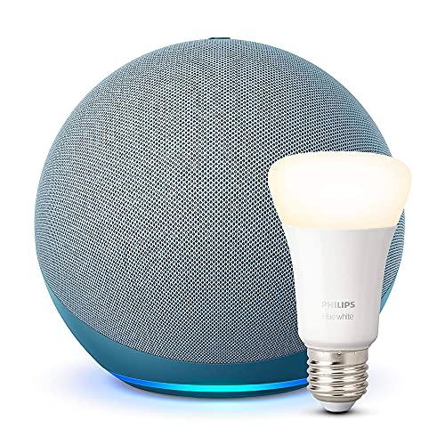Echo (4ª generazione) - Audio di alta qualità - Ceruleo + Philips Hue Lampadina Connessa (E27), compatibile con Alexa