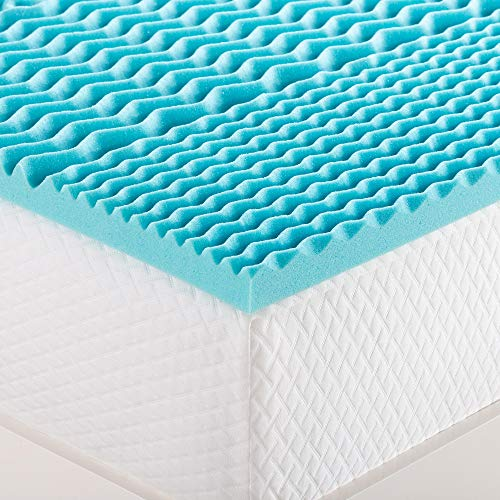 Snugglemore Comfort 5 Zone Cool Blue Memory Foam Mattress Topper Orthopaedic Support Pain Relief (Double)