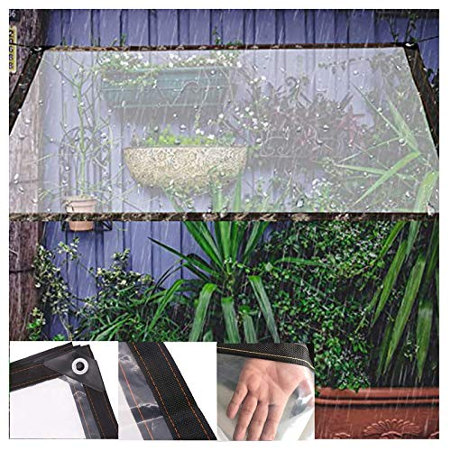 SHIJINHAO Tarpaulin Clear Waterproof Cover Tarp, Transparent Tarpaulin Greenhouse Cover Heavy Duty With Grommets Outdoor Garden Tent, 40 Size (Color : Clear, Size : 4X6M)