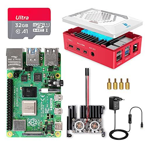 POWBUZZ Raspberry Pi 4 8GB con Tarjeta SD de 32GB Precargada con Raspberry Pi OS, Cable 5V 3A con ON/Off, 2 Micro HDMI, Gran Disipador de Calor, 2 Ventilador, Caja Roja y Lector de Tarjetas