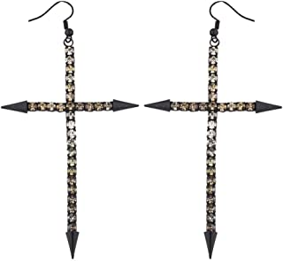 Lux Accessories Edgy Jet Black and Champagne Rhinestone Large Cross Earrings
